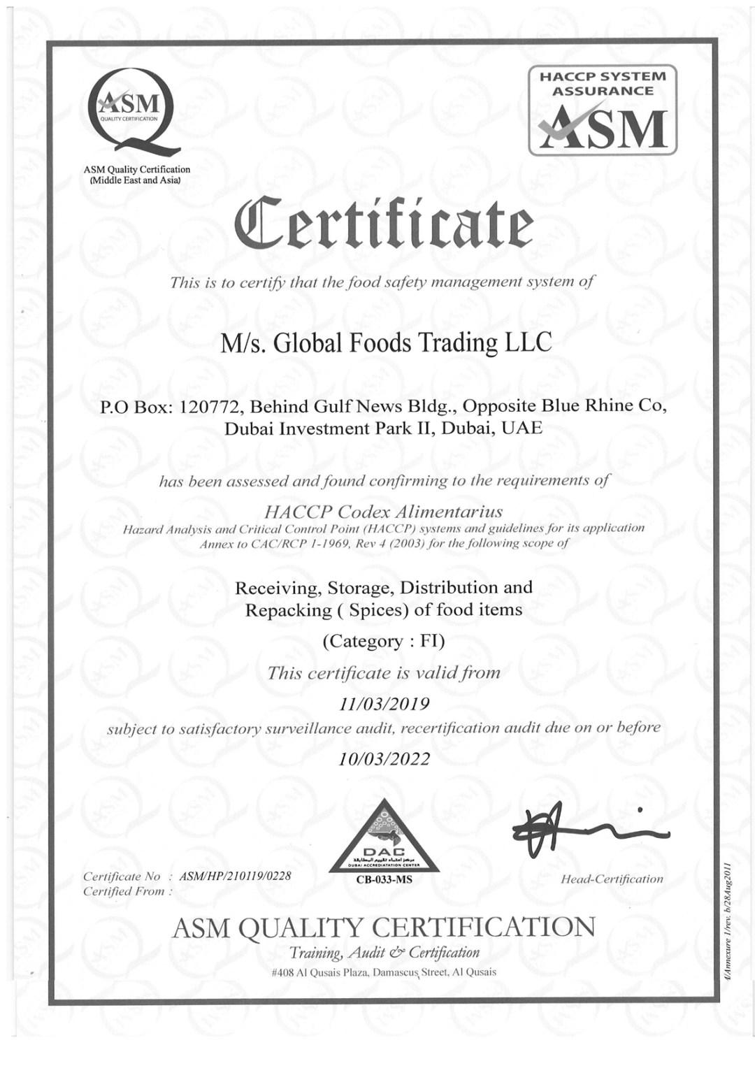HACCPGF Certification