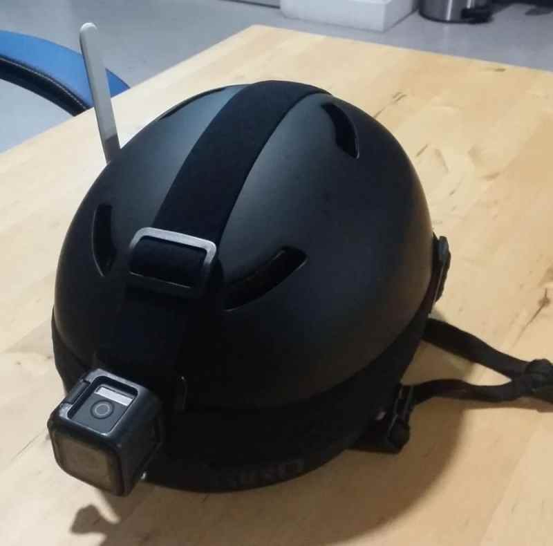 helmet with Strips LoRa mounted