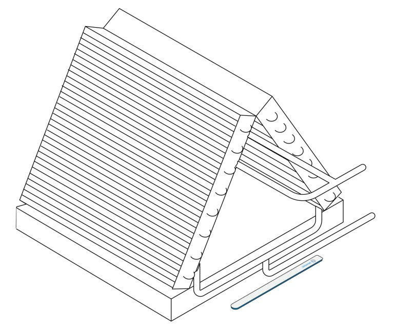 condenser drawing with drip mounted outside