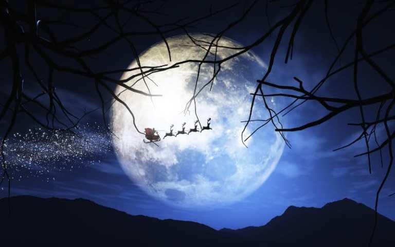santa claus his sleigh flying moonlit sky.web