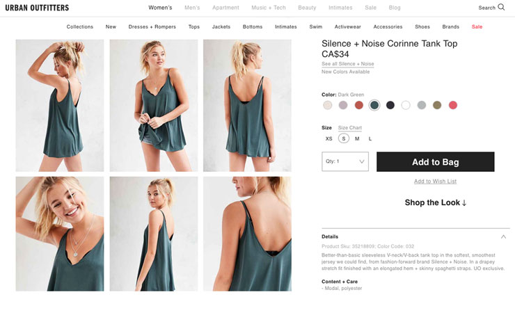 site web Urban Outfitters