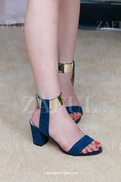 Suede Chunky Heel Metallic Sandals