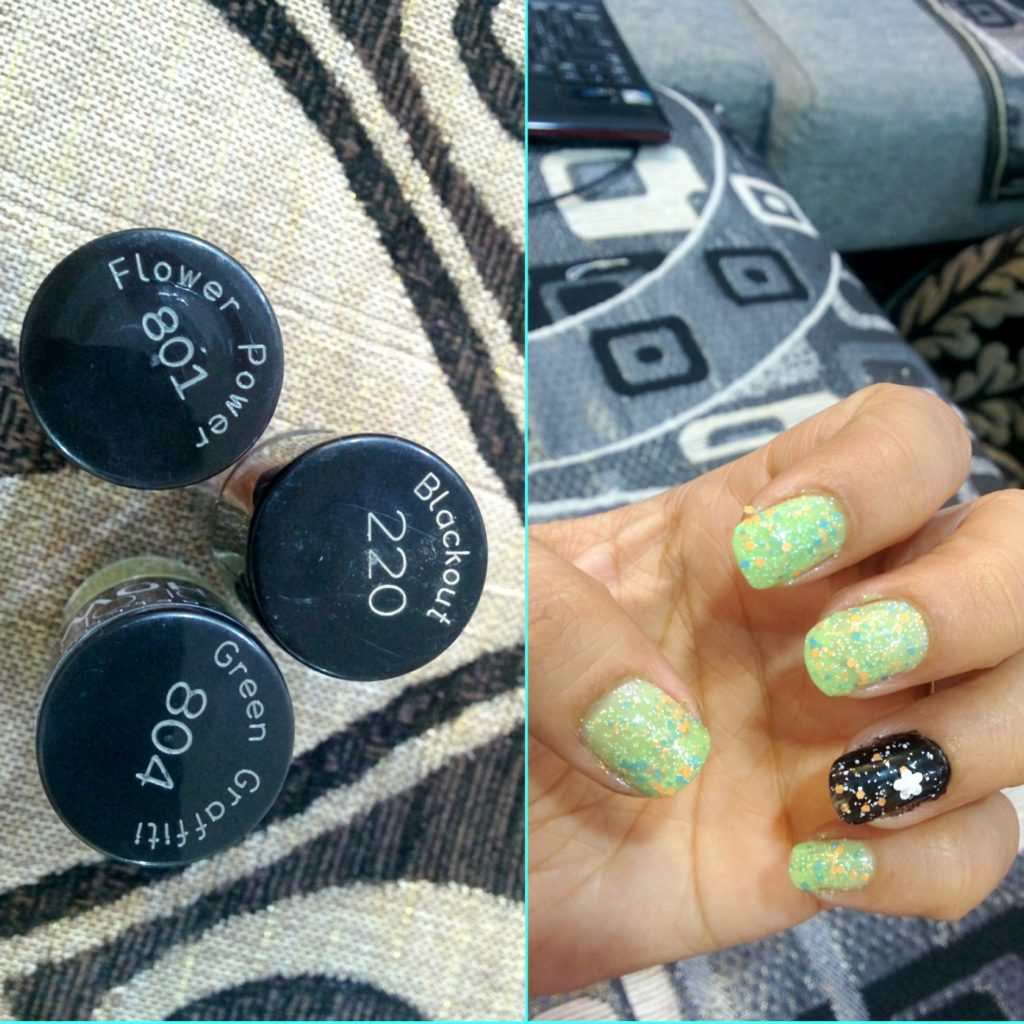 Maybelline Graffiti Nailpaints - Green Graffiti & Flower Power Swatches