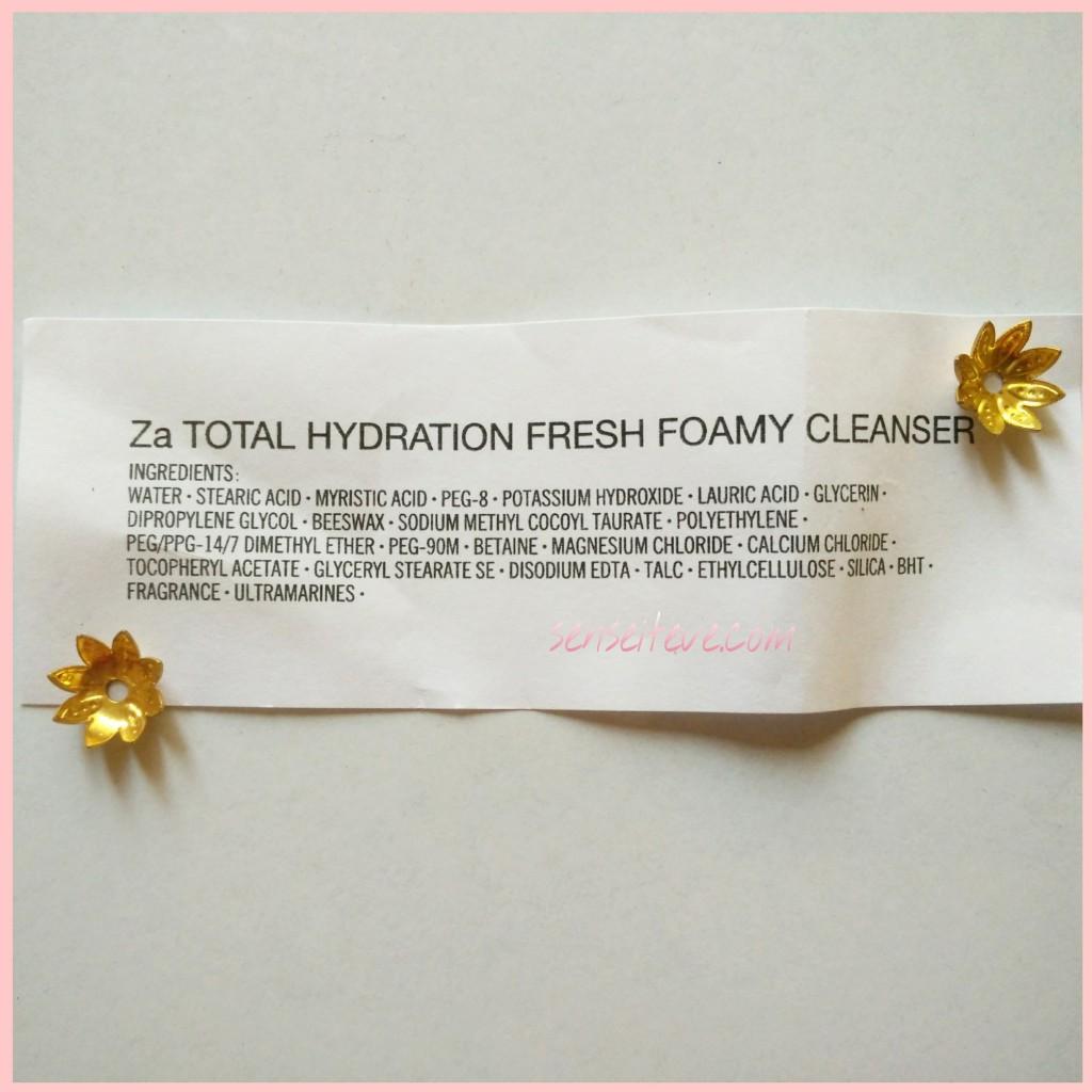 Za Total Hydration Fresh Foamy Cleanser Ingredients