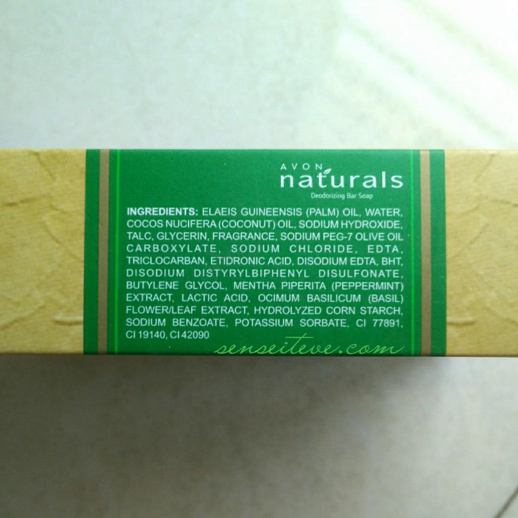 Avon Natural's Deodorizing Bar Soap Ingredients