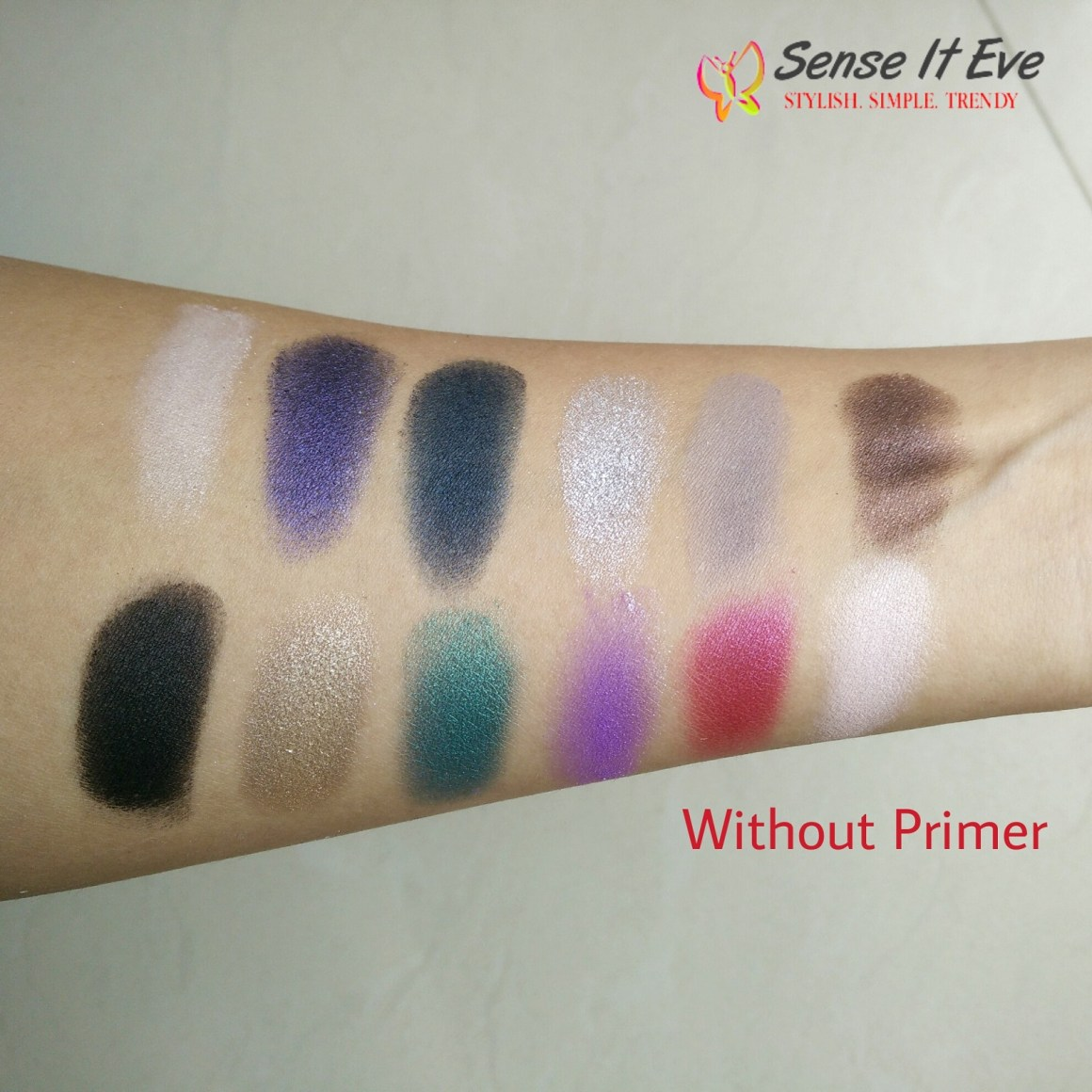 MUA Glamour Nights Eye Shadow Palette Swatches Without Primer 2