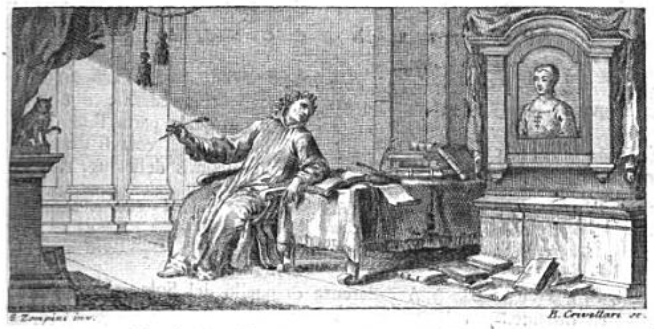 Petrarch dying in his study accompanied by his cat. Engraving from a 1756 Italian edition by Castelvetro after an earlier drawing by Gaetano Gherardo Zompini
