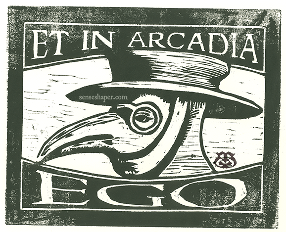 "Woodcut print, ""Plague Doctor Mask: Et in Arcadia Ego,"" from choice pine woodblock, and printed in oil ink on 100% cotton paper."