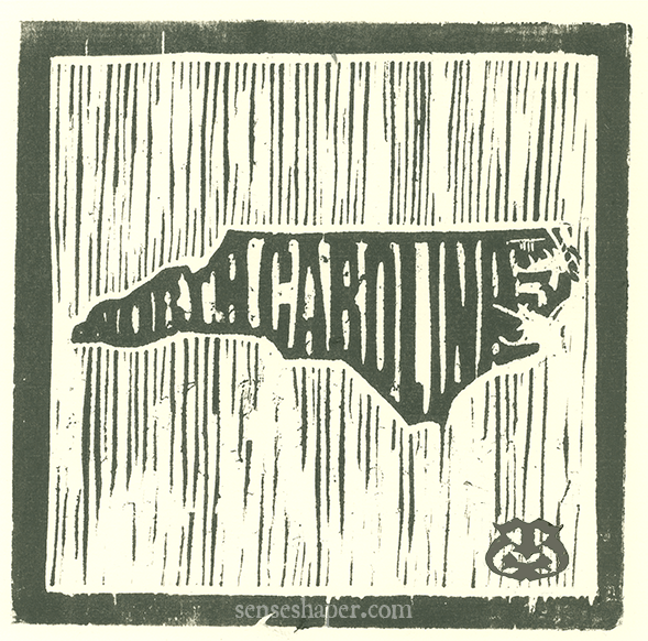 "Woodcut print, ""State Outlines: North Carolina,"" from poplar woodblock on Antique Hand Laid paper."