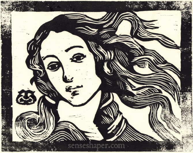 """Kalodaemon"" a Senseshaper woodcut copy of detail of Sandro Botticelli's The Birth of Venus. You can purchase a print here or a shirt here."