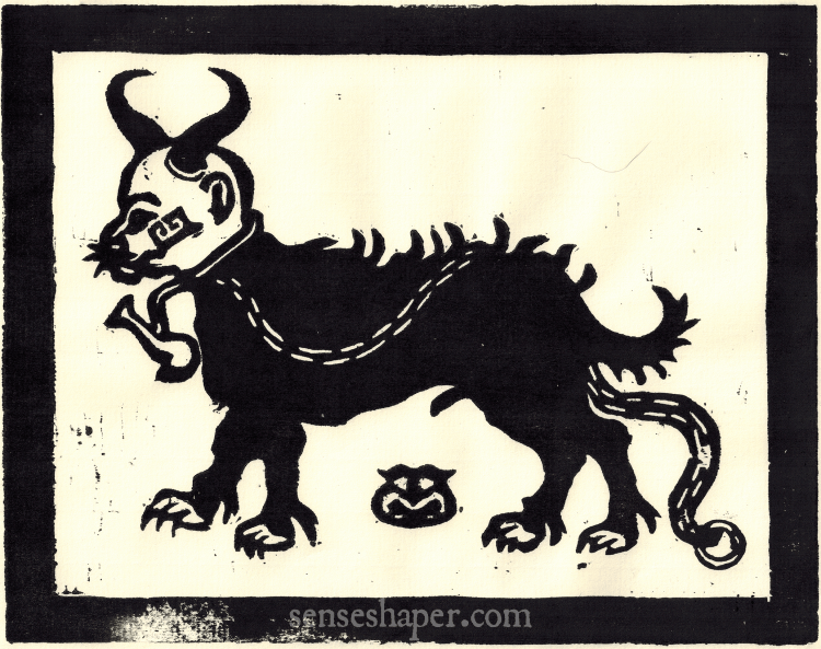 This devil dog woodcut is after one found in John Phillips' 1566 witchcraft narrative The Examination and confession of certaine wytches at Chensforde. You can purchase a print here, or find it on a shirt here.