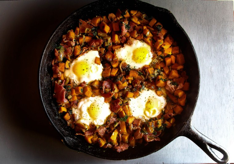 Sweet Potato, Kale, and Country Ham Hash with Maple Red-Eye Gravy