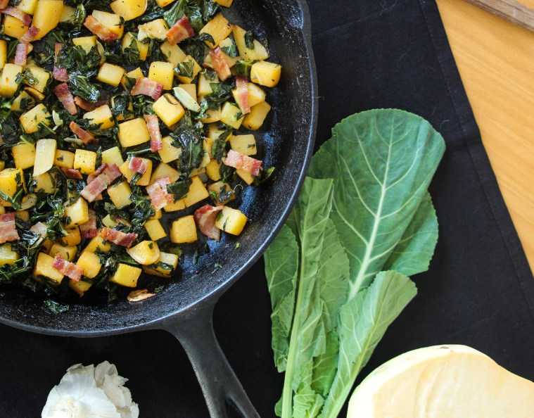 {Good Luck} Rutabaga and Collard Skillet