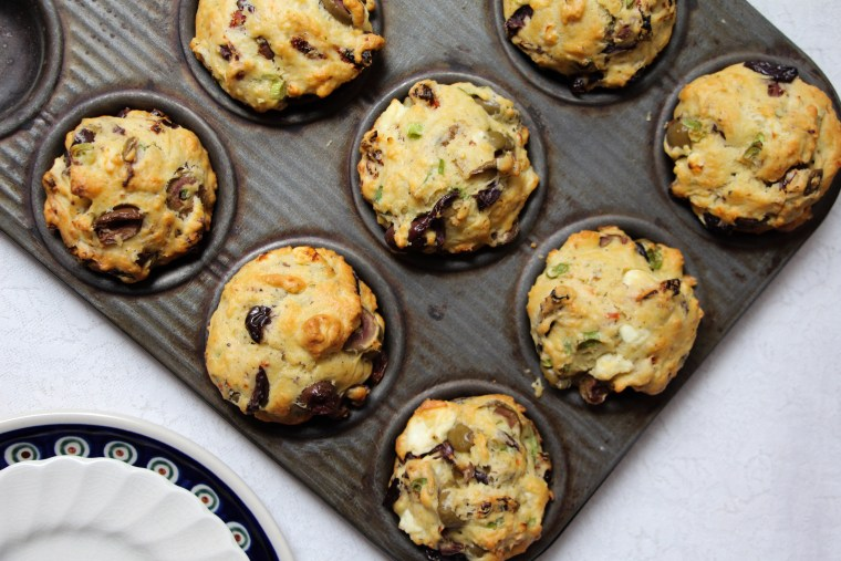 Olive, Sun-dried Tomato, and Feta Savory Muffins