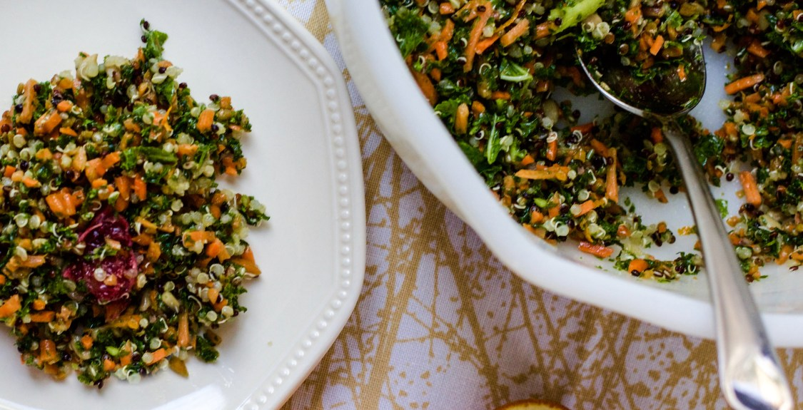 Chopped Kale and Carrot Salad with Blood Orange Vinaigrette