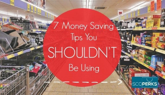 A Picture Of A Supermarket With The Text '7 Money Saving Tips You Shouldn't Be Using'