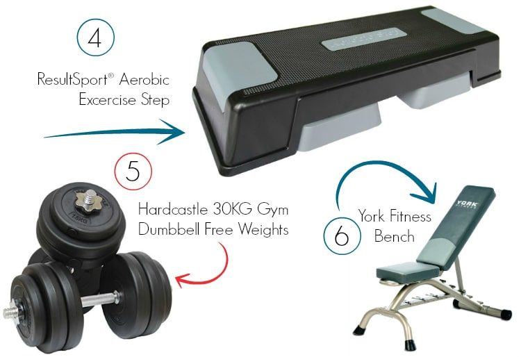 3 Home Gym Ideas To Keep You Fit - A Step, A Set Of Dumbbells And A Bench