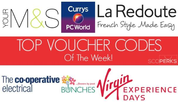 Logos Of Different Highstreet Stores With The Text 'TOP VOUCHER CODES Of The Week!'