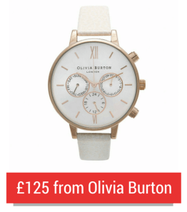 A White Chrono Olivia Burton Watch With A Red Button Beneath And The Text '£125 from Olivia Burton'