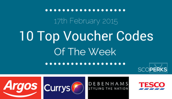 Logos Of Argos, Currys, Debenhams And Tesco With The Text '17th February 2015, 10 Top Voucher Codes Of The Week'