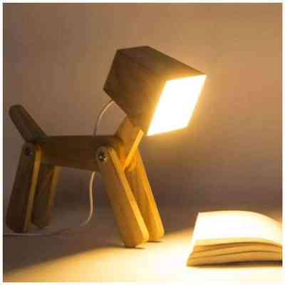 Cute Wooden Dog Design Adjustable Dimmable Bedside Table Lamp Touch