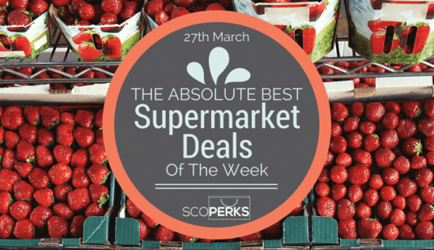A Stall Of Strawberries With The Text '27th March THE ABSOLUTE BEST Supermarket Deals Of The Week'