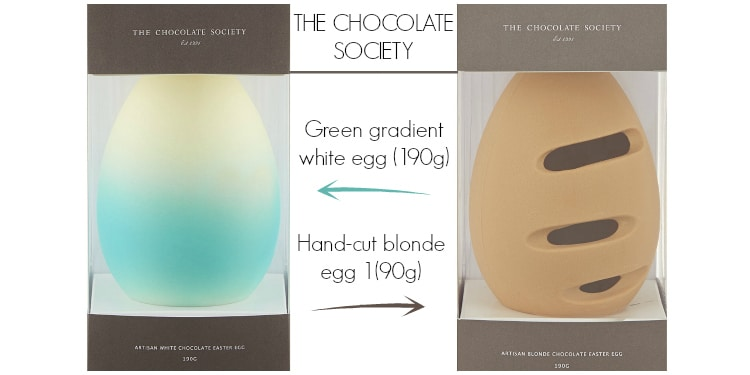 The Gradient Green White Chocolate Easter Egg And Hand Cut Blonde Easter Egg From The Chocolate Society