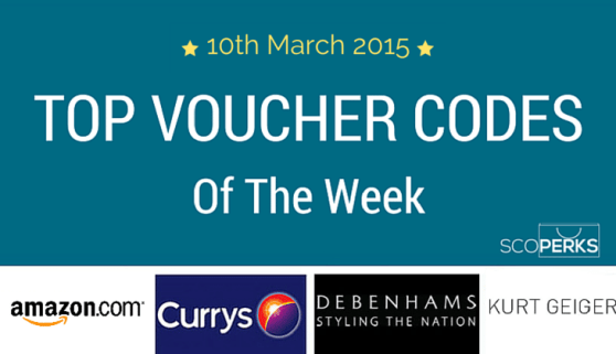 The Text '10th March 2015 TOP VOUCHER CODES Of The Week' With Amazon, Currys, Debenhams And Kurt Geiger Logos