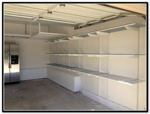 Garage shelving for storing supplies
