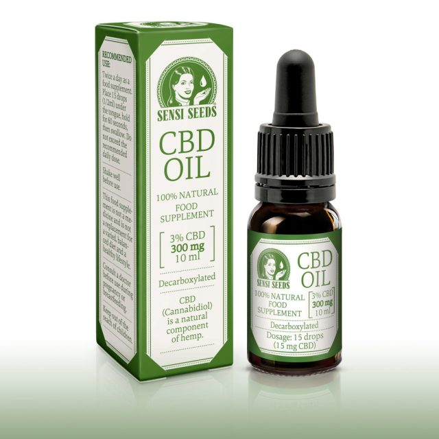 "Photo of the product Sensi Seeds CBD oil: on the left the box, on the right the bottle.  ""CBD-Oil"" is printed in large print, and the Sensi Seeds logo is recognized.  The colors are always green and white.  Dosage and indications are indicated on the box on the left.  On the front, it says that it is a dietary supplement 100% natural and decarboxylated 10 ml.  The average CBD content is 3%, ie 300 mg.  The same indications are also on the bottle."
