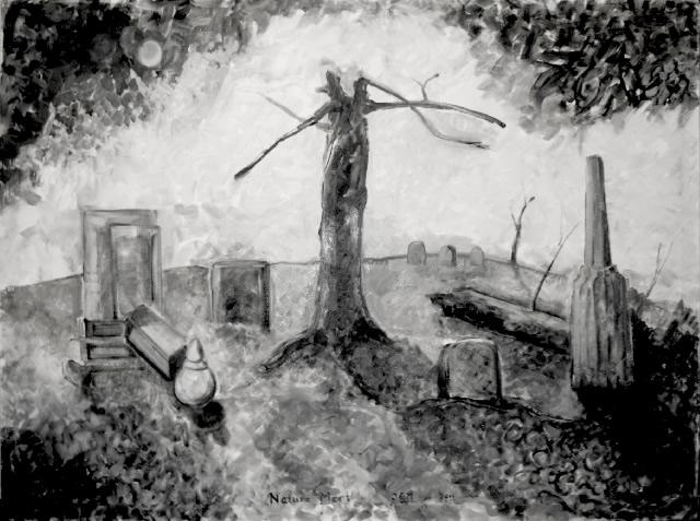 "Lightning-Struck Tree in Cemetery,60""x 45"", oil on canvas, John Griffin"
