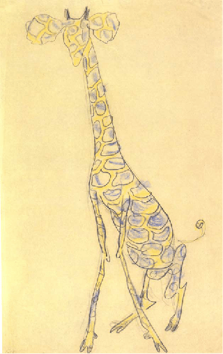"V. Mayakovsky, ""A giraffe,"" 1913. Pastel and pencil on paper"