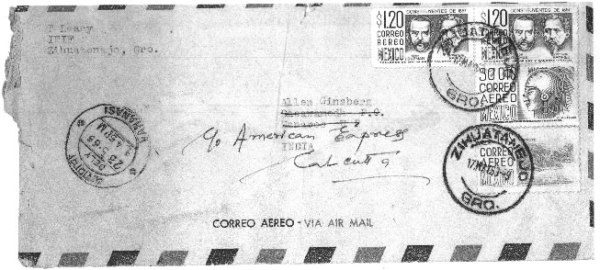 Timothy Leary Allen Ginsberg envelope Mexico 1963