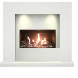 Cube Marble Fireplace Suite Open Fronted Gas Fire