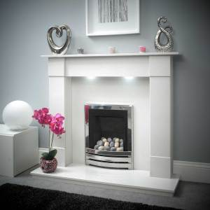 Amara Marble Fireplace White
