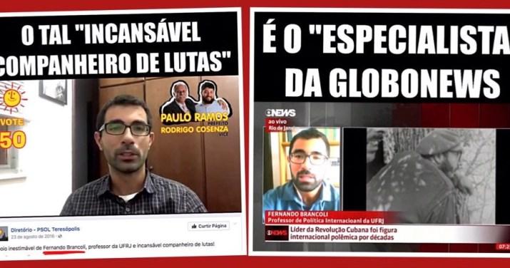 """Especialista da Globo News é """"companheiro de lutas"""" do PSOL"""