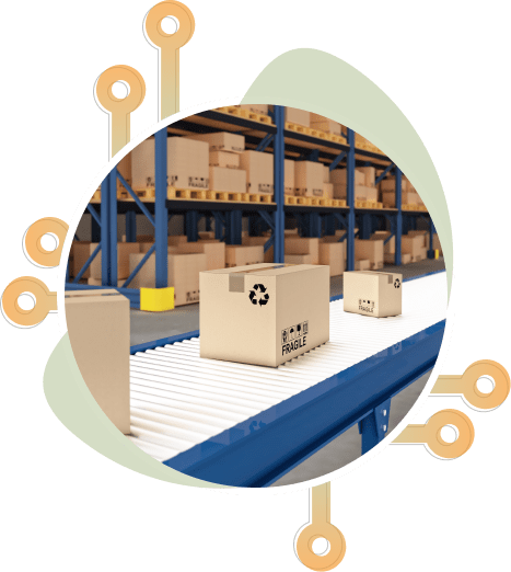 Boxes of inventory running on a conveyor belt