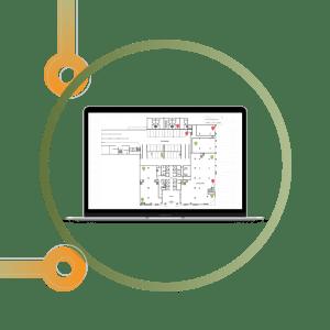Laptop showing sensor works indoor tracking portal
