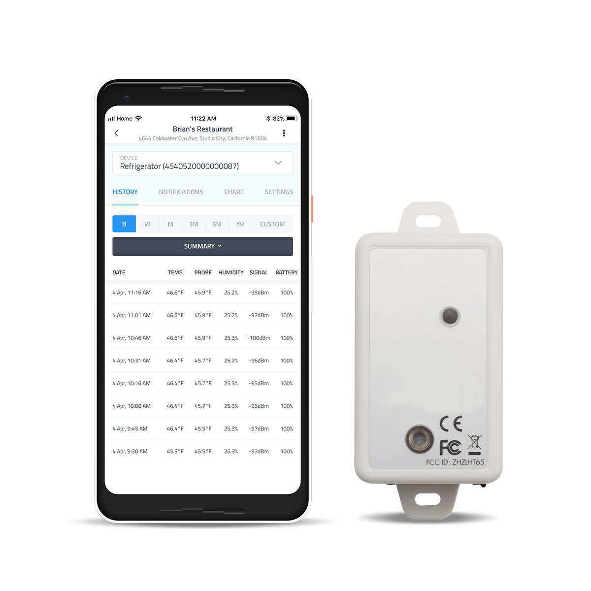 Temperature and humidity sensor with sensorworks temperature analytics app