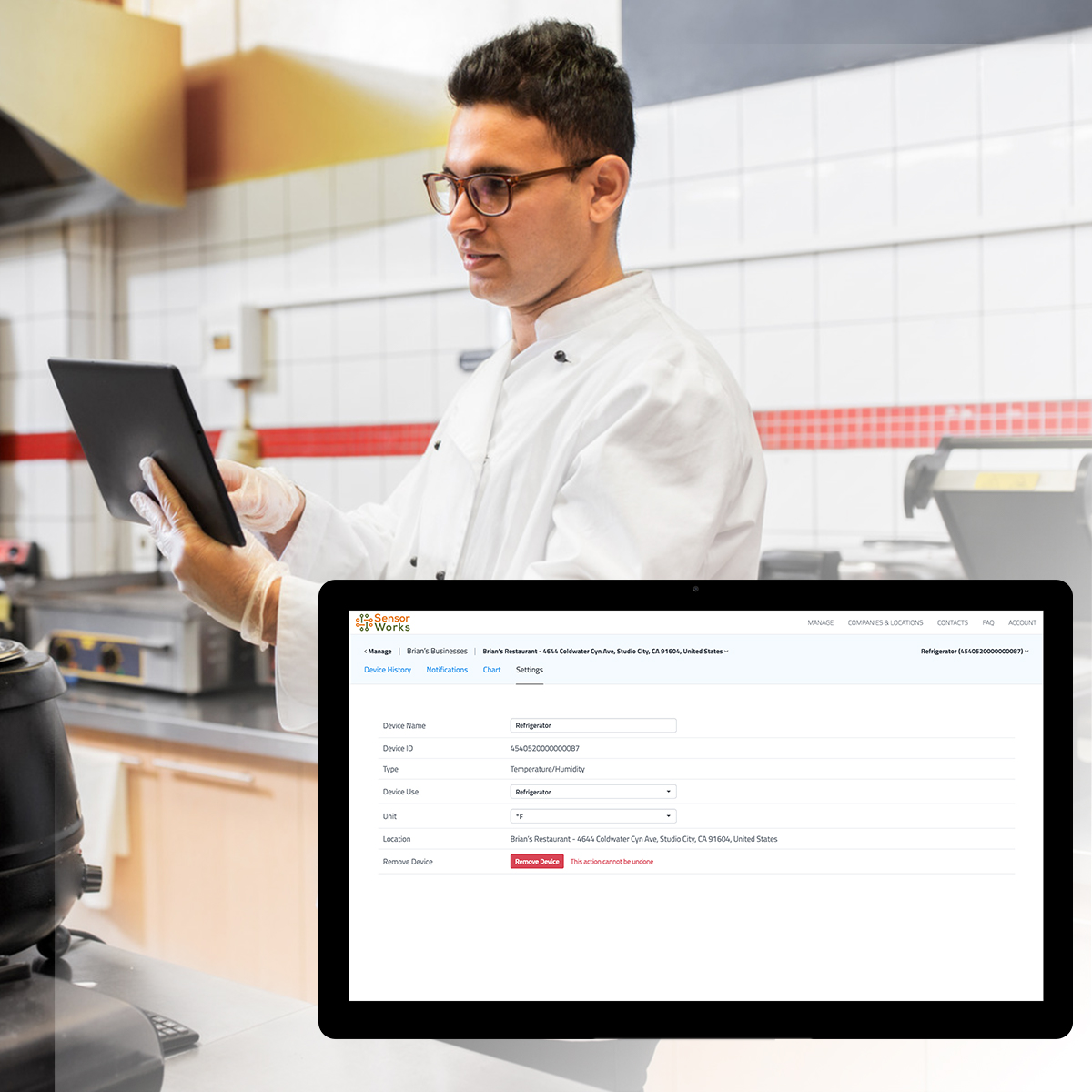 Chef remotely monitoring food inventory inside a refrigerator