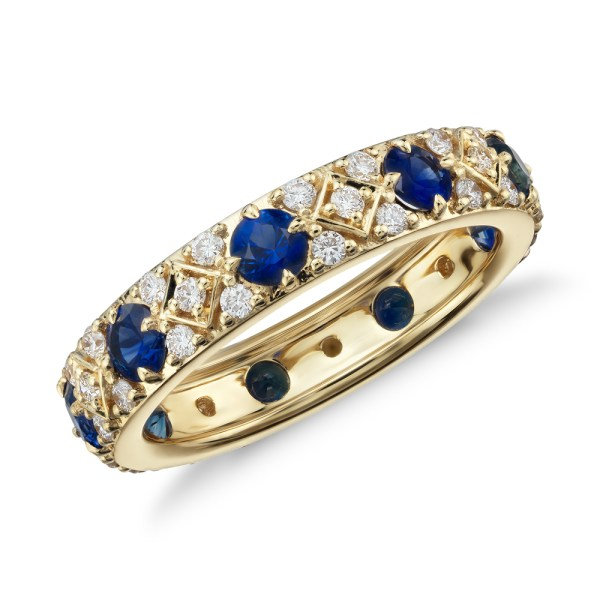 Sapphire and Diamond Eternity Ring in 18K Yellow Gold