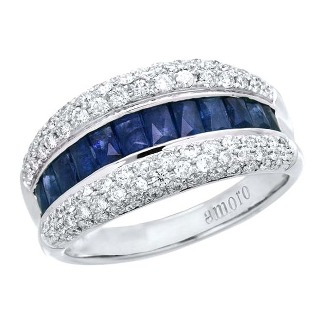 Amoro 18kt White Gold Sapphire and Diamond Ring (0.65 cttw, H-I Color, SI 1-2 Clarity)