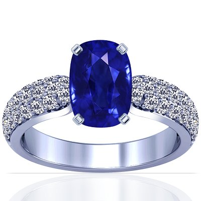 Platinum Cushion Cut Blue Sapphire Ring With Sidestones