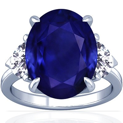 Platinum Oval Cut Blue Sapphire Three Stone Ring
