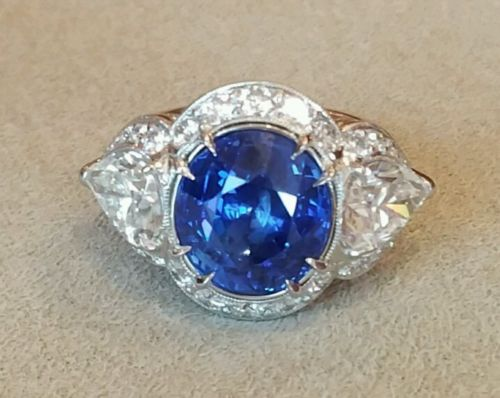 GIA No Heat 11.38 ct Oval Blue Sapphire & Diamond Cocktail Ring in Platinum