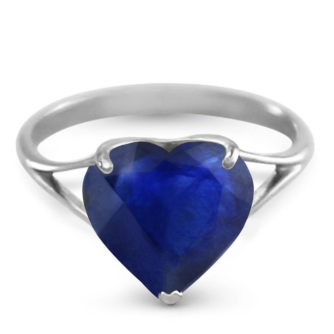 14k Solid White Gold Ring with Natural 10mm Heart-shaped Sapphire
