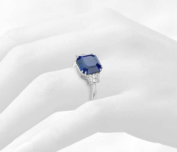 Sapphire and Diamond Three-Stone Ring in 18k White Gold (5.52 ct.)