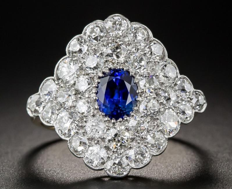 Edwardian Sapphire Diamond Dinner Ring