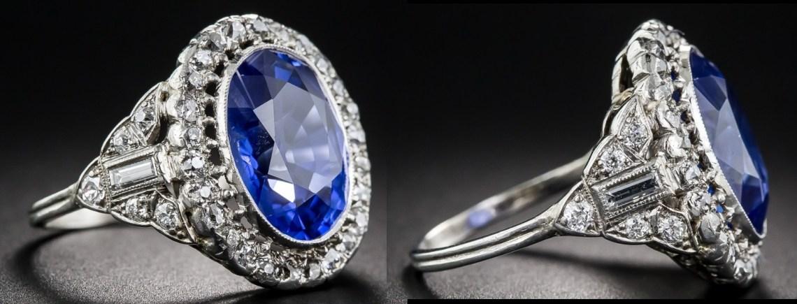 6.63 Carat No Heat Sapphire and Diamond Art Deco Ring