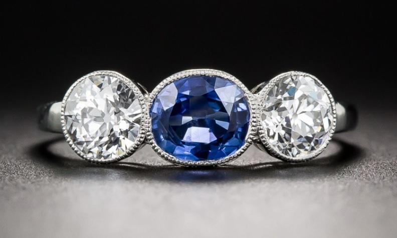 Natural Burmese Sapphire and Diamond Three-Stone Ring